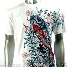 RC Survivor T-Shirt Biker Tattoo WB53 Sz M L XL XXL 3XL Koi Fish Japanese Vtg D2