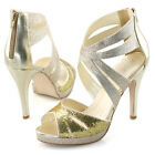 womens ankle strap zip high heels sandal gold glitter party dance shoes metallic
