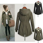 NEW LADIES HOODED PARKA FLEECE TOP SIZE 8-20 WINTER WARM WOMENS LONG JACKET COAT