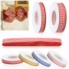 High Quality Gingham Ribbon 10 metre in Multiple Colours 10mm 15mm 25mm