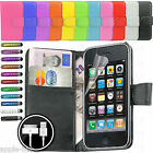 LEATHER FLIP CASE COVER POUCH WALLET + SCREEN PROTECTOR FOR APPLE IPHONE 3G/3GS