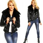 Women's Ladies Leather look jacket Biker style Black Sizes UK 8 10 12 14