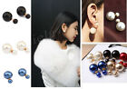 Hot New Design Fashion 1 Pair Man Made Double Pearl Earrings Ear Studs 7 Colors