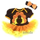 Baby Thanksgiving Brown Orange Bling Turkey Bodysuit Tutu Romper Party Dress