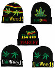 RASTA Bob Marley I Love Weed Stripe Marijuana Turn Up Pull On Beanie Cap