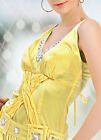 Donna Bella Womens Evening Embellished Pleated Prom Maxi Yellow Dress