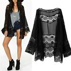 Sexy Lady Women's Black Hollow Lace Spliced Chiffon Kimono Blouse Cardigan Coat