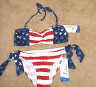 NWT Catalina  American Flag USA Bikini Swim Set Bandeau Top Tie Bottom size XL