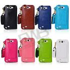 Ultra Thin Credit Card Holder Leather Pouch case Neck Strap for Samsung Note 2