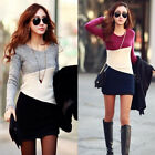 Ladies Winter Long Sleeve Knit Splice Jumper Sweater Top Knitwear Pullover Dress