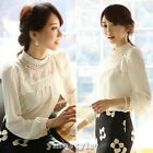 Korean Women Long Sleeve Sheer Lace Floral Chiffon Casual Top Blouse Shirt White