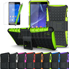 Rugged Impact Armor Hybrid Case Stand Cover Skin For Sony Xperia Z3 D6653+Film