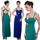 Donna Bella Sexy Notched Line Cross Back Cocktail Evening Dress Maxi Green Blue