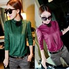 Women Slim Fit Solid Color Bottoming Shirt Long Sleeve T-Shirt Tops Blouse B20E