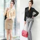 Fashion Women Long Sleeve Bow Neck Slim OL Office Casual Shirt Tops Blouse Black