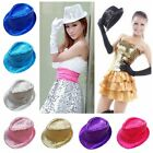 New Fancy Dress Gangster Hat Fedora Trilby Sequin Cap Sparkle Hats Dance Party