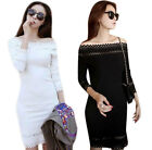 New Women Sexy Maxi Dress Skrit Slim Hollowed-out Boat Neck Backless Lace Hot