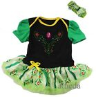 Anna Princess Bodysuit Tutu Romper Coronation Costume Baby Party Dress 0-18M