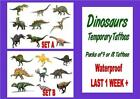 DINOSAURS TATTOOS 8 waterproof LAST1WEEK+ boy tattoo loot bag party sticker
