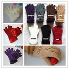 Warm Girl Knitted Glove Mittens Fur Lining Fuzzy Hand Mitts Finger Gloves Chic Z