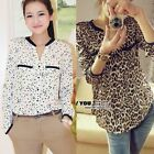 Women's  Stars Leopard Tin Chiffon Long Sleeve Shirt Top Blouse T-Shirts Lady
