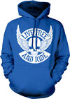 Live Free And Ride Skull Wings Biker Rebel Motorcycle Rider Hoodie Pullover