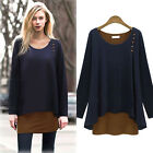 2014 Fashion Women Patchwork Loose Casual Simple Winter Long Blouse T-Shirt Tops