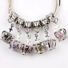 Hot 6 Colors Crystal Bead Crown Style Alloy European Charms Pendant Finding Lots