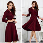 Womens 3/4 Sleeve Flared Party Cocktail Lady Plus Size Swing Skater Dress Shirt