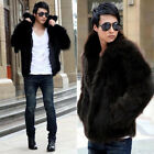 Fashion Soft Man Lapel Faux Fox Fur Fluffy Warm Winter Waist Coat Jacket Hot