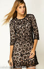 French Connection Black Lace Crochet Daisy Chain Flower Cut Out  Dress 6 34 8 36