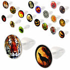 2P Earring fake cheater ear plugs logo gauge stretcher 9COT-SELECT STYLE&SIZE