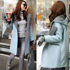 New Arrival Women's Casual Hooded Thicken Wool Blend Metal Zip Long Jacket Coats
