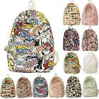 Unisex Graffiti Print Backpack Cartoon Casual Women Men Travel School Bag Zipper