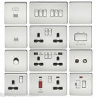 SCREWLESS POLISHED CHROME FLAT PLATE LIGHT SWITCHES & PLUG SOCKETS BLACK INSERT