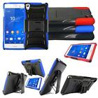 For Sony Xperia Z3 Hybrid Rugged Cover Kickstand with Holster Belt Clip