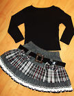 GIRLS BLACK TOP & GREY WHITE BOW TARTAN WINTER WOOLLY PARTY SKIRT with BELT
