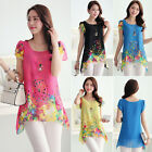 NEW Sexy Womens Loose Hollow Floral Chiffon Asymmetric Hem Blouse Tops T Shirts