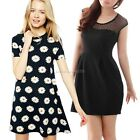 Women Stretchy Round Neck Mesh Splicing Slipover Black Dress mini Sundress Dress
