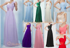New 12 Colour One-Shoulder Long Wedding Bridesmaid Prom Evening Dress Size 6-26