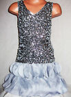 GIRLS SILVER FLAMENCO STYLE SEQUIN CHIFFON PETALS EVENING DANCE PARTY DRESS