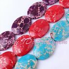 """30X40MM FLAT OVAL IMPERIAL JASPER LOOSE GEMSTONE BEADS STRAND 15"""" PICK COLOR"""