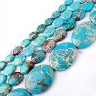 "FASHION FLAT OVAL BLUE IMPERIAL JASPER LOOSE GEMSTONE BEADS STRAND 15"" PICK SIZE"