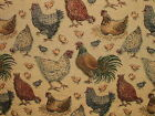 Rustic Tapestry Chicken Hens In Gold Curtain Upholstery Cushions Designer Fabric