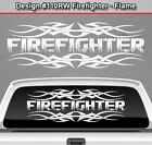 Design #110 FIREFIGHTER Tribal Flame Flaming Rear Window Decal Sticker Graphic