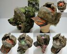 CAMO BASEBALL HARDWOOD BOMBER HAT WITH FAUX FUR - ONE SIZE FITS MOST