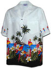 New Mens White Hawaiian Aloha Shirt Parrots Beach