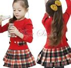 New Girls Kids School Top Plaid Dress Clothes Outfits Clothing Costume SZ 2-7