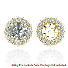 White SI2 Diamond Solitaire Halo Stud Bridal Earrings Jackets 14K Yellow Gold 3
