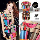 Hot Womens Summer Casual Colorful Checks Plaid Mini Cocktail Evening Party Dress
